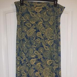LuLaRoe Maxi Skirt; Blue with Yellow Paisley